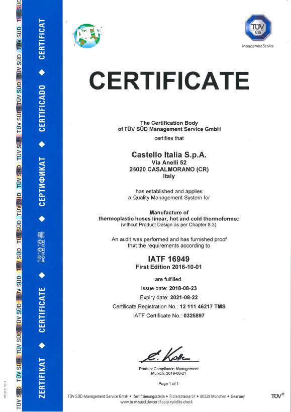 certificato IATF 16949