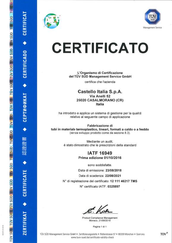 certificato IATF-16949
